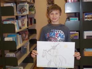 Luka je narisal svojega najljubšega knj. junaka M. Krpana